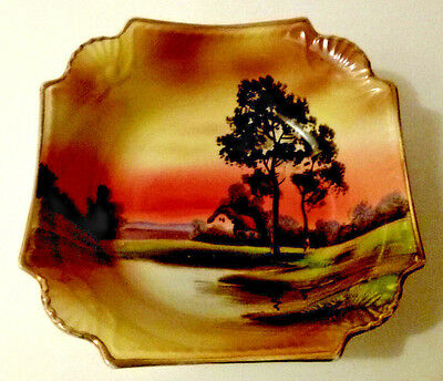 Noritake Square Bowl Oriental Sunset Scene Hand Painted House on Lake with Tree