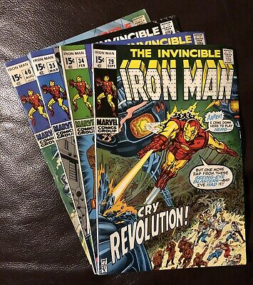 The Invincible Iron Man lot of 4 Marvel Comic Vol1 issue #29, 34, 35, 40 1970-71