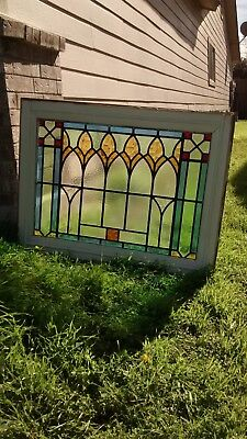 Antique Victorian Nouveau Art Stained Leaded Glass 19th Century Architectural