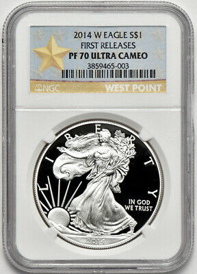 2014 W 1oz Proof American Silver Eagle NGC PF 70 Ultra Cameo First Releases