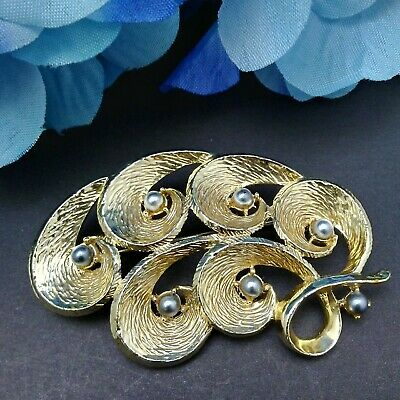 Mamas Estate Vintage Emmons Signed Gold Tone Brooch Pin Lot# C6-36*