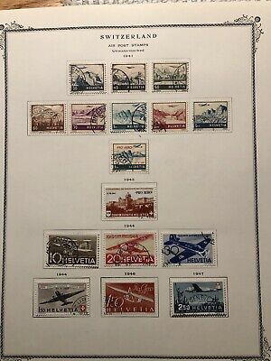 Switzerland Full Page of Airmail Stamps cxl on Scott Specialty Pages