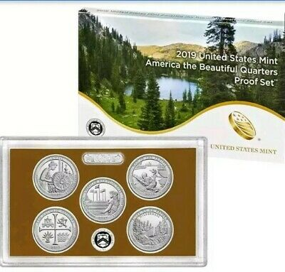 2019 S Proof America the Beautiful Quarter ATB US Mint clad 5 coin Set WITH COA