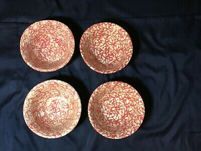 Lot Of 4 Roseville Red Spongeware Pottery Big Cereal Soup Bowls By Gerald E Henn