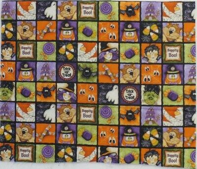 Halloween Fabric Block Print Witch Ghost Ghoul Black Cat Spider Bat Candy 1/4yd