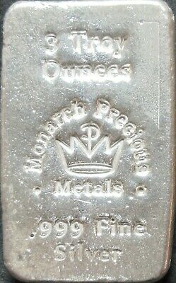 Monarch Precious Metals 3 Troy Ounce .999 Fine Silver Hand Poured Bar