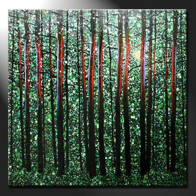 Original Oil Painting Canvas Sunny Forest Interior Large Contemporary GeeBeeArt