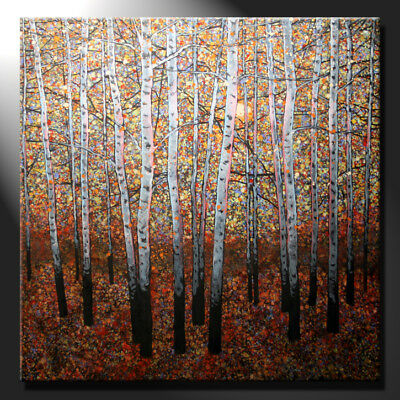 Original Large Oil Painting Canvas Birches Forest Aspen Trees Design GeeBeeArt
