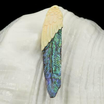 Multicolor Paua Abalone Shell & Trumpet Shell Carved Bird Feather Pendant 2.39 g