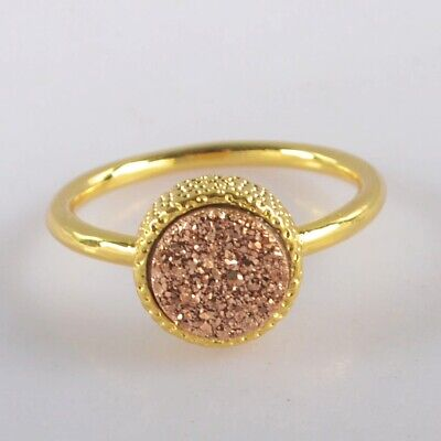 Size 6.75 Natural Agate Titanium Druzy Bezel Ring Gold Plated H131072