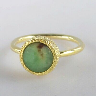 Size 6 Australia Natural Chrysoprase Faceted Bezel Ring Gold Plated H131078