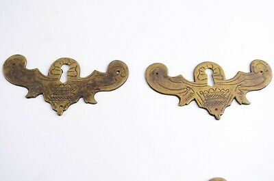 Lot of Two Primitive Antique Brass Furniture Decorative Drawer Plates Key Holes
