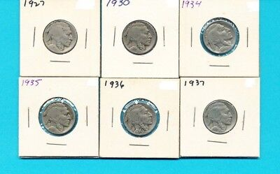 Lot of 6 Buffalo Nickels US Coins 1927 1930 1934 1935 1936 1937