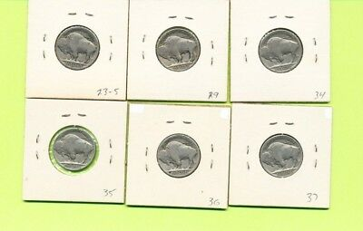 Lot of 6 Buffalo Nickels US Coins 1923-S 1929 1934 1935 1936 1937