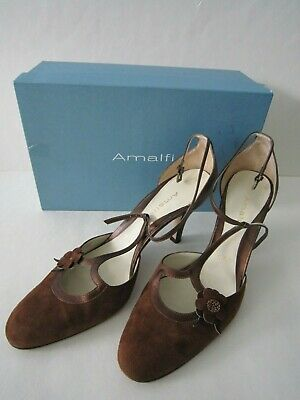 641d1a34a909 Amalfi Nordstrom Women s Brown Leather Suede T-Strap Heels Shoes 9 1 2 M