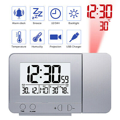 LED Projection Clock Time Thermometer Snooze Alarm Calendar LCD with Backlight