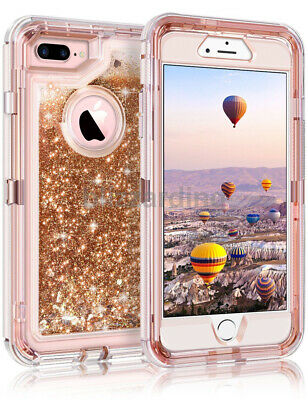 Shockproof Defender Glitter heart Liquid Case Fit Otterbox iPhone 6/78 Plus MAX