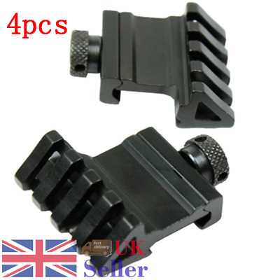 4pcs Side Mount Bracket Tactical Hunting Rail Black Clamp Pistol Install Adapter