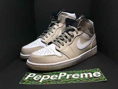new concept 411e0 a284d Nike Air Jordan 1 Mid Desert Sand White Black 554724 047 Men s Size 10