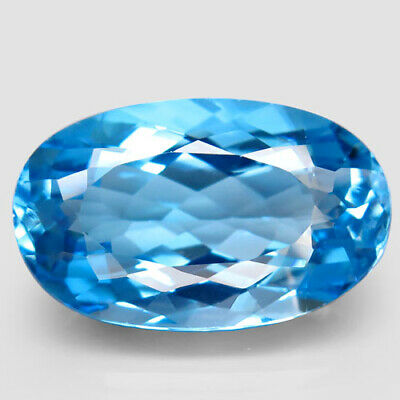 34.26ct.Top Sky Blue Topaz 100%Natural (Brazil) Oval Facet Large! AAA Charming.