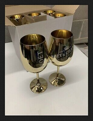 Set of 6 Moet & Chandon Gold Acrylic Glass Champagne Glasses