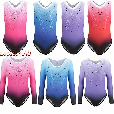 AU Stock Kids Girls 5-14Y Rinestone Gymnastics Leotards Gradient Dancewear