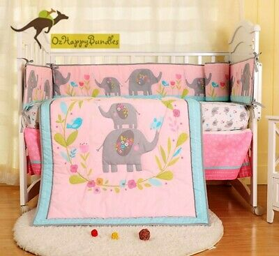 New Baby Girls 7 Pieces Cotton Nursery Bedding Crib Cot Sets-- Pink Elephant
