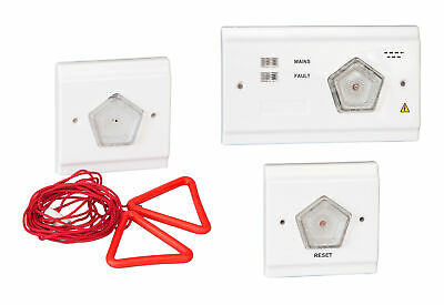 Toilet Alarm Call for Assistance Alert System 3 Piece 2 Wire Kit Emergency Safe