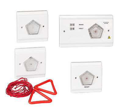 Toilet Alarm Call for Assistance Alert System 4 Piece 2 Wire Kit Emergency Safe