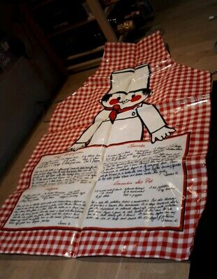 Vintage Retro Chefs recipes Kitchen PVC Waterproof Apron made in England red