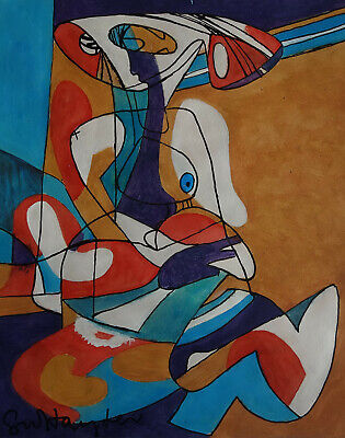 Fine Abstract Expressionism unique British painting, Pollock, Rothko era, Signed