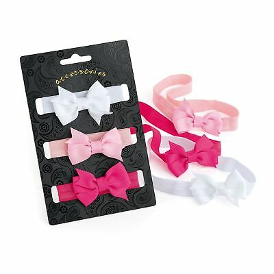 3 Piece Elasticated Baby Soft Stretch Headband Wrap With Bow Pastel Colour 5.5cm