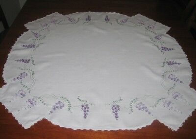 Vintage Hand Embroidered Tablecloth~Linen~Lace Edged~Purple Flowers