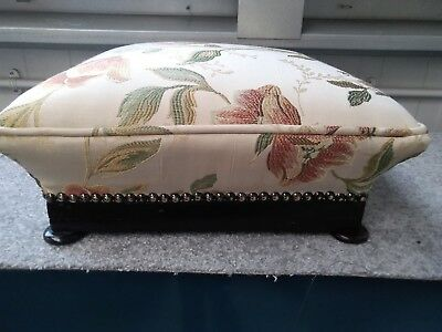 Victorian Antique Footstool Floral Silk effect Material