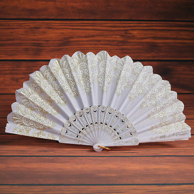 1pc White Chinese Style Women Lace Folding Hand Held Flower Gilding Fan Gift