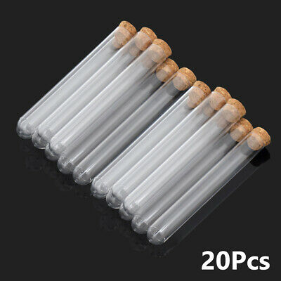 Hard Plastic Test Tubes with Cork for Scientific Lab Experiment Party Decors 20x