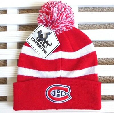 buy online 546e5 15675 MONTREAL CANADIENS White Red HABS BOBBLE BEANIE TOQUE Hat NHL Hockey Pompom