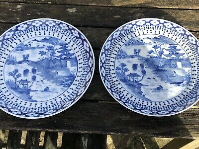 Fine Pair Of Chinese 19Th Century Blue And White Canton Porcelain Plates Mark