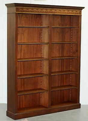 Vintage Large Double Bank Mahogany With Walnut Marquetry Inlay Library Bookcase