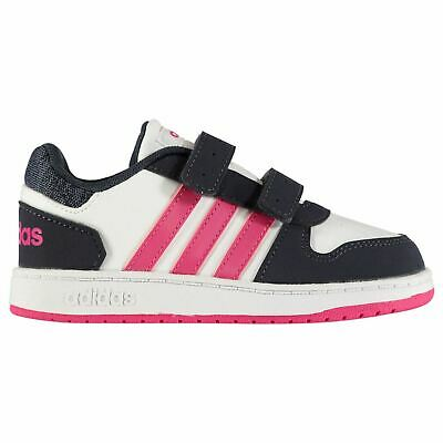 adidas Hoops 2.0 Trainers Infant Girls White/Pink/Navy Shoes Footwear