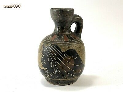 Vintage Handmade Ancient Greek Pottery Copy Classical Period 400 B.C. Clay Made.