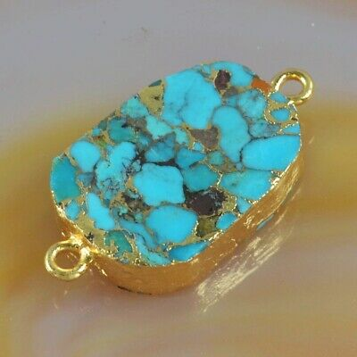 Blue Copper Turquoise Connector Gold Plated T075286