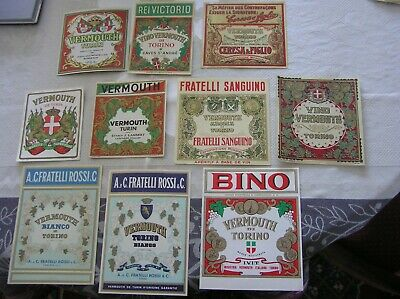 10 Etiquettes Vermouth Torino  Anciennes