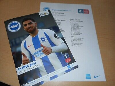 BRIGHTON & HOVE ALBION  v  DERBY COUNTY  2018/19   F.A.CUP 5th.  + RARE T/SHEET