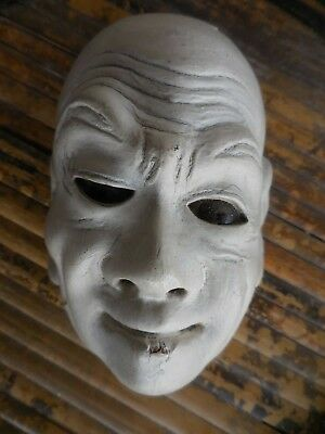 Japanese Antique Miniature Carved Wood Noh Theater Mask