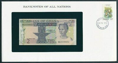 """Ghana: 1982 2 Cedis Banknote & Stamp Cover """"BANKNOTES OF ALL NATIONS SERIES"""""""