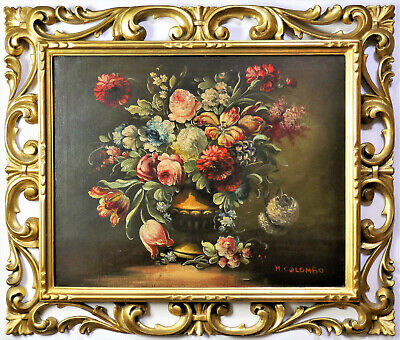 Old Dutch School Style, Still Life Flowers Oil Painting, Carved Gilt Wood Frame