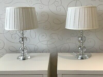 Pair Bhs Lamps Faceted Crystal Gl Bases White Shades 50cm
