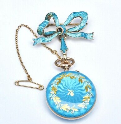 Antique Swiss ladies Blue Enamel Silver & 18ct Rose Gold Bow Fob Watch c.1890's