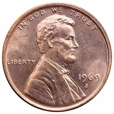 1969 S Lincoln Memorial Cent Choice BU Penny US Coin
